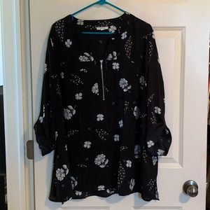 Black and white blouse; Maurice's; Plus size 3x
